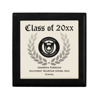 Personalized Graduation Keepsake Box, Cream/Black Gift Box