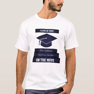 Personalized Graduation Tee 1 Grad Cap Gown Stairs