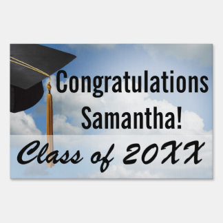 Personalized Graduation Yard Sign, Blue Sky Sign