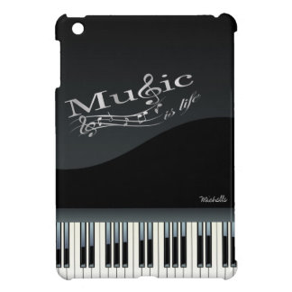 """Personalized Grand Piano """"music is life"""" Case For The iPad Mini"""