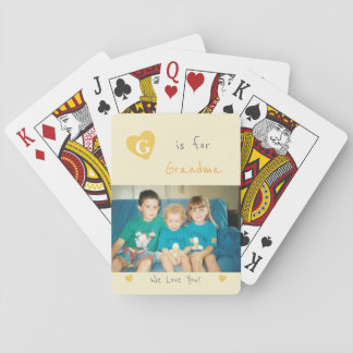 Personalized Grandma orange and gray photo Playing Cards