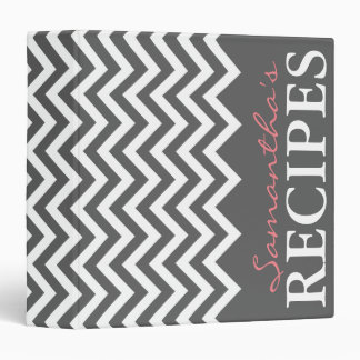 Personalized gray and coral chevron recipe binder