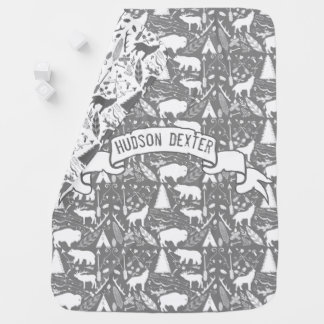 Personalized Gray Baby Boy Antlers with Rack Baby Blanket