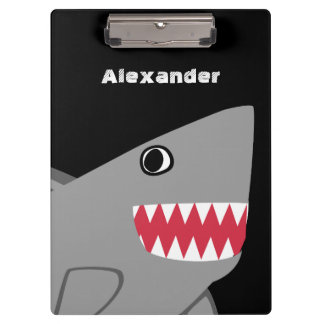 Personalized Gray Black Cartoon Cute Shark Kids Clipboard