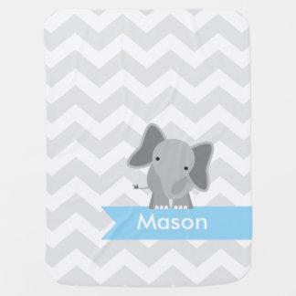 Personalized Gray Blue Chevron Elephant Baby Blanket