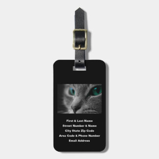 Personalized Gray Cat Striking Green Eyes Luggage Luggage Tag