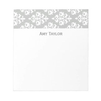 Personalized Gray Damask Pattern Notepad
