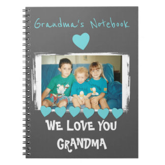 Personalized gray Grandma photo Spiral Notebook