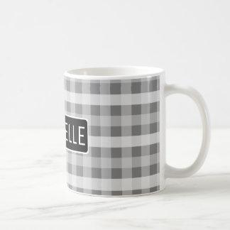 Personalized Gray Plaid Coffee Mug