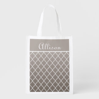 Personalized Gray Quatrefoil and Faux Lace Reusable Grocery Bag