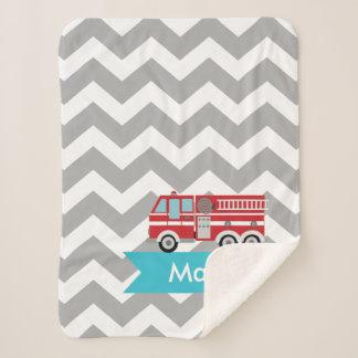 Personalized Gray Teal Chevron Fire Truck Sherpa Blanket
