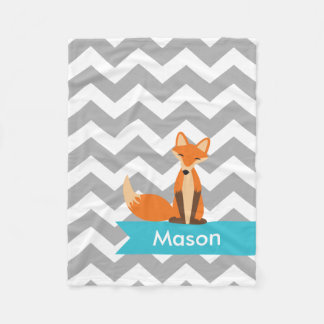 Personalized Gray Teal Chevron Fox Fleece Blanket