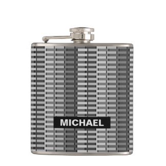 Personalized Gray Trendy Abstract Stripe Pattern Hip Flask