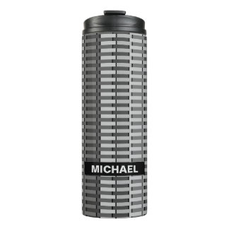 Personalized Gray Trendy Abstract Stripe Pattern Thermal Tumbler