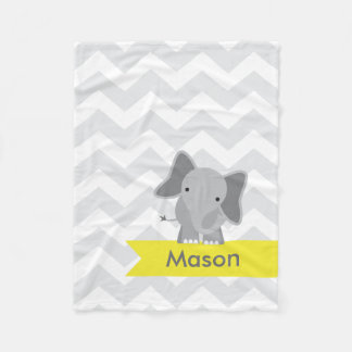Personalized Gray Yellow Chevron Elephant Fleece Blanket