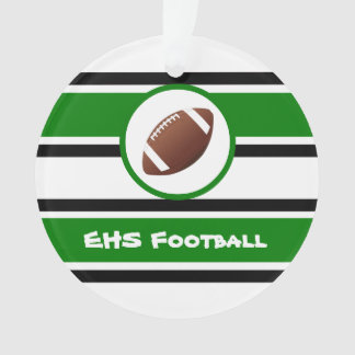 Personalized Green and Black Football Ornament