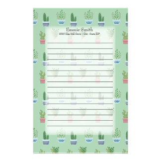 Personalized Green and Brown Cactus and Plants Stationery