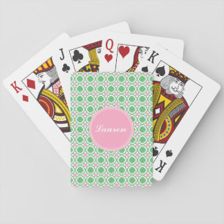 Personalized Green and Pink Playing Cards