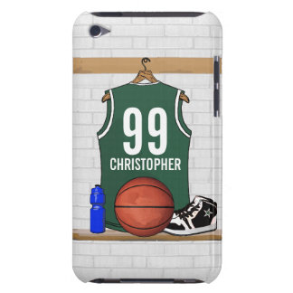 Personalized Green and White Basketball Jersey iPod Touch Covers