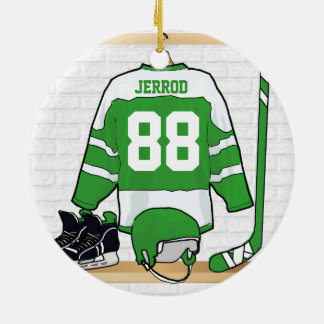 Personalized Green and White Ice Hockey Jersey Round Ceramic Ornament