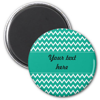 Personalized Green and White Zigzag Pattern 2 Inch Round Magnet