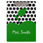 Personalized Green Apple White and Black Polka Dot Clipboard