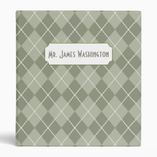 Personalized Green Argyle Binder