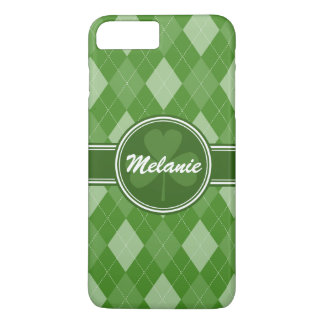 Personalized Green Argyle Pattern with Clover iPhone 7 Plus Case