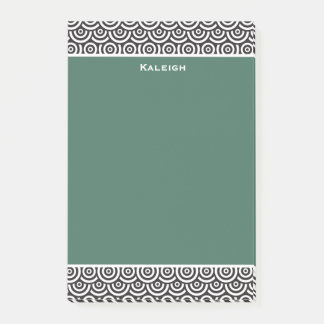 Personalized Green Black and White Retro Post-it Notes