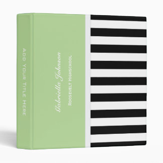 Personalized: Green Black And White Striped Binder