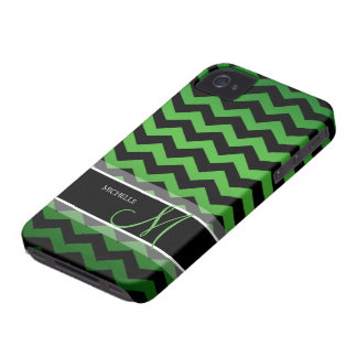 Personalized Green & Black Chevron iPhone 4 Case