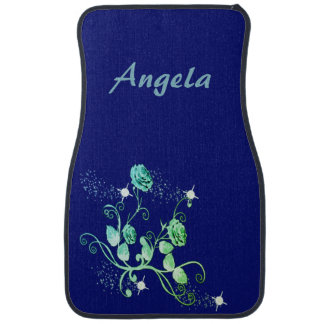 Personalized Green Blue Roses and Vines Car Mat