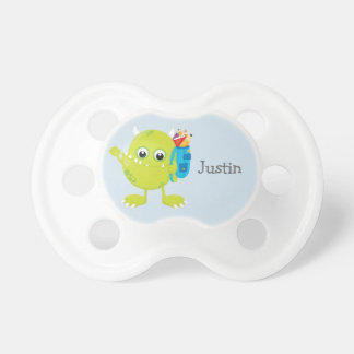Personalized Green Blue  Sweet Little Monster Pacifier