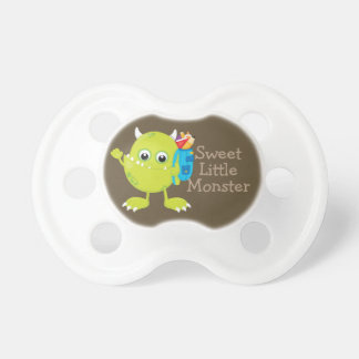 Personalized Green Brown  Sweet Little Monster Pacifier