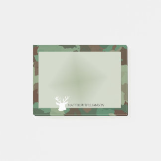 Personalized Green Camo Frame with Buck Silhouette Post-it Notes