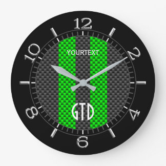 Personalized Green Carbon Style Racing Stripes Large Clock