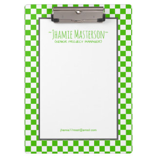 Personalized Green Chequered Clipboard