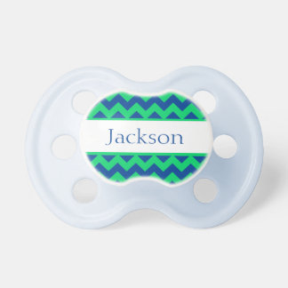 Personalized Green Chevron Pacifier