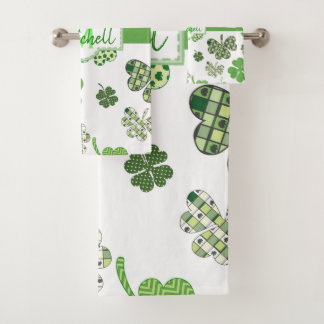 Personalized Green Clover St Patrick's Day Bath Towel Set