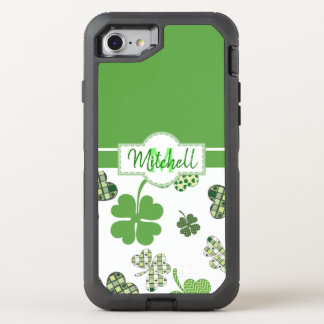 Personalized Green Clover St Patrick's Day OtterBox Defender iPhone 8/7 Case