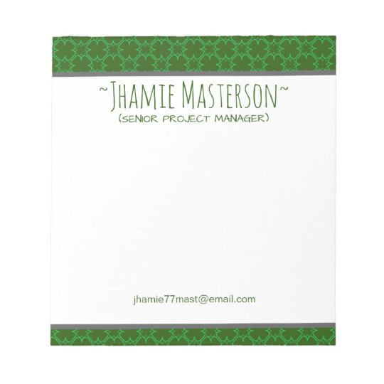 Personalized Green Cloverline Notepad