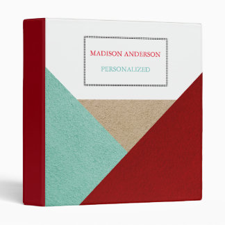 Personalized Green Cream & Red Abstract Modern Vinyl Binder