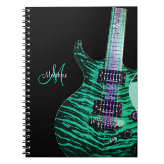 Personalized Green Electric Guitar Music Notebook