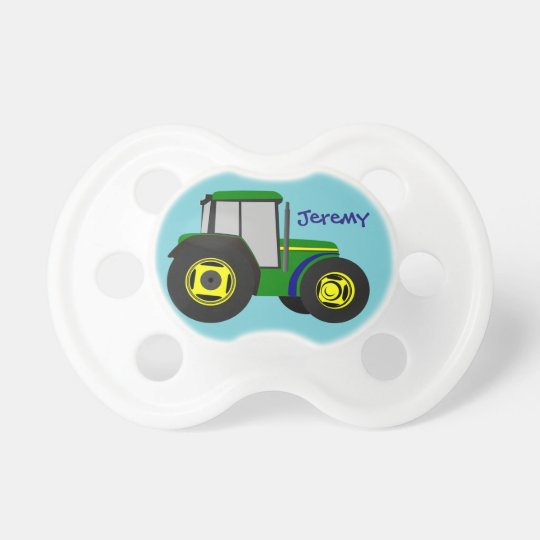 Personalized Green Farm Tractor Baby Pacifier