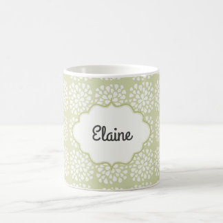 Personalized Green Floral Coffee Mug
