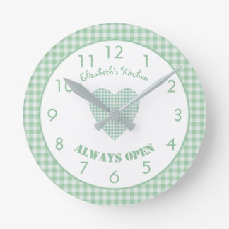 Personalized green gingham Kitchen Round Clock