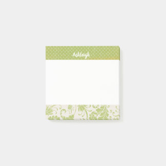 Personalized Green Grunge Dots and Damask Post-it Notes