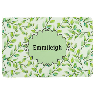 Personalized Green Leaves and Branches Floor Mat