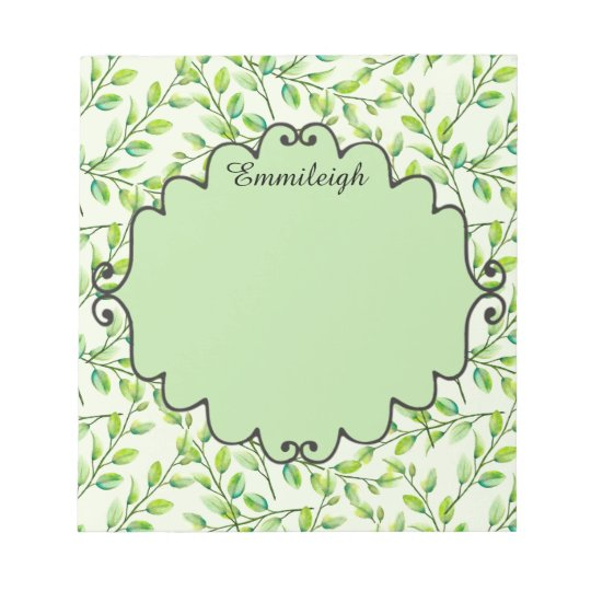 Personalized Green Leaves and Branches Notepad