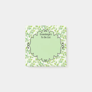 Personalized Green Leaves and Branches Post-it Notes